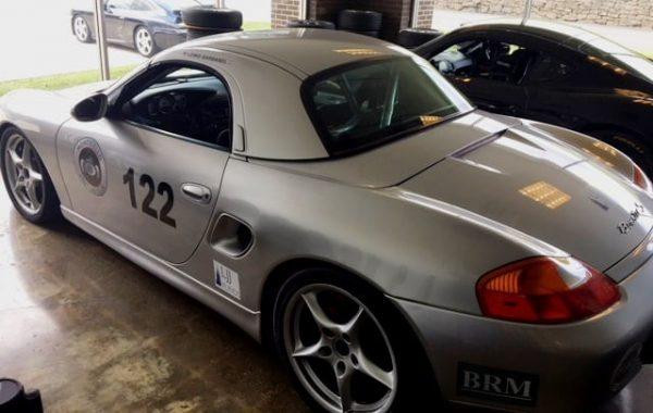 2000 Silver Porsche Boxster S Racecar Rear View